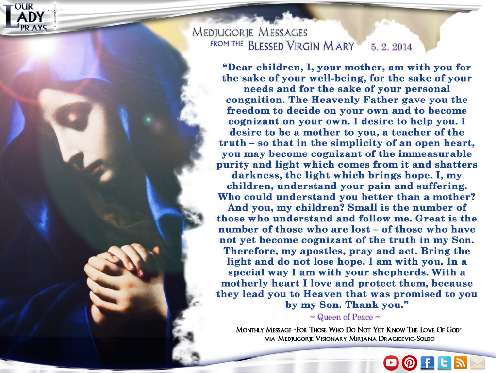 Medjugorje Message for the Blessed Virgin Mary May 2nd, 2014