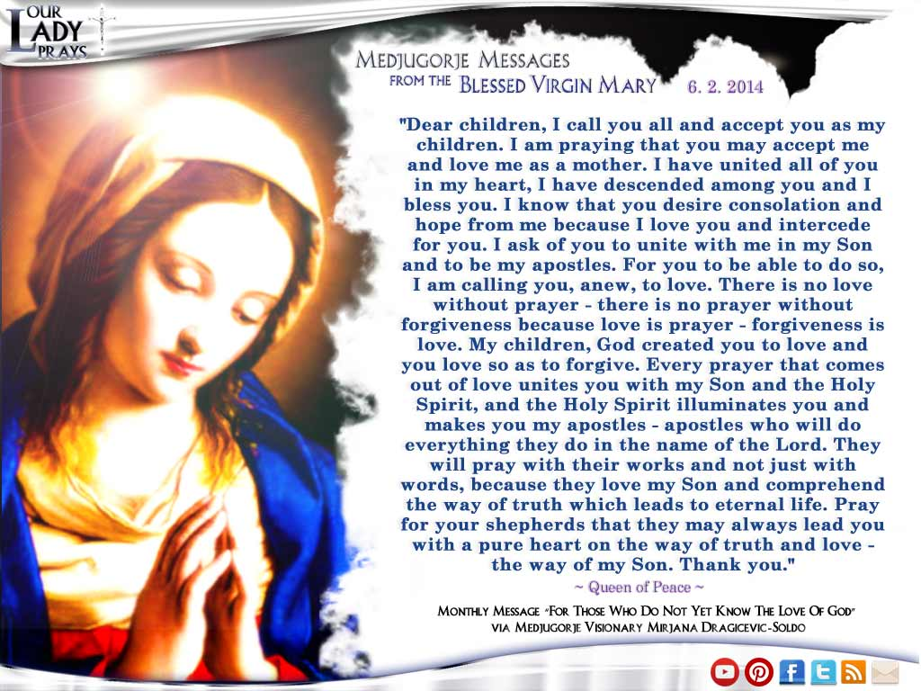 Medjugorje Message from the Blessed Virgin Mary June 2nd, 2014