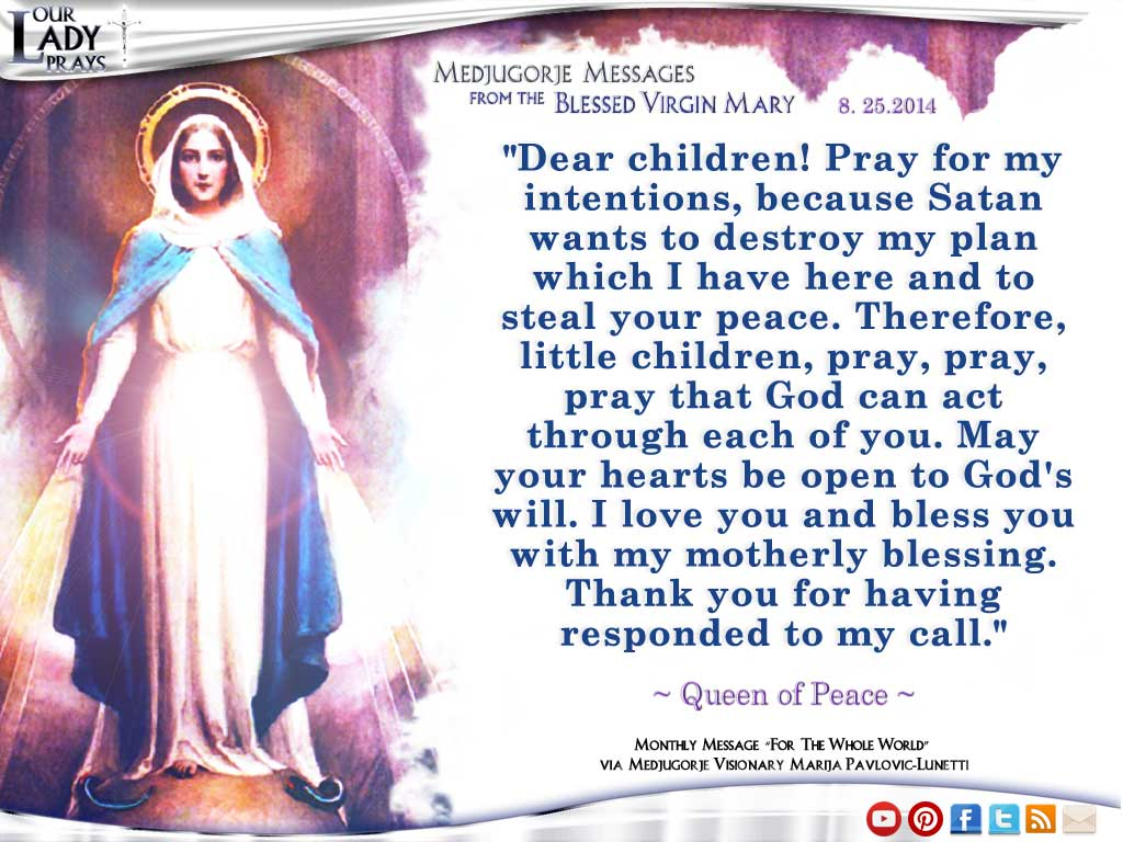 Medjugorje Message from the Blessed Virgin Mary August 25, 2014