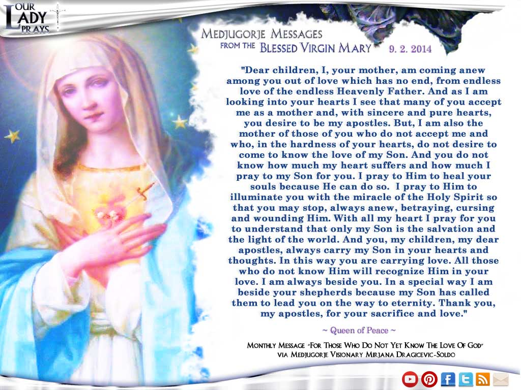 Medjugorje Message from the Blessed Virgin Mary September 2, 2014