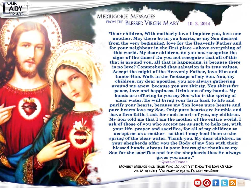 Medjugorje Message from the Blessed Virgin Mary October 25, 2014