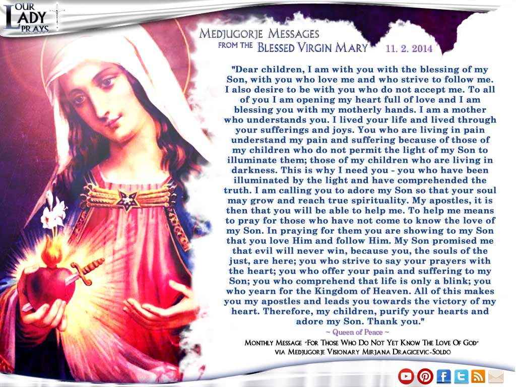 Medjugorje Message from the Blessed Virgin Mary November 2, 2014