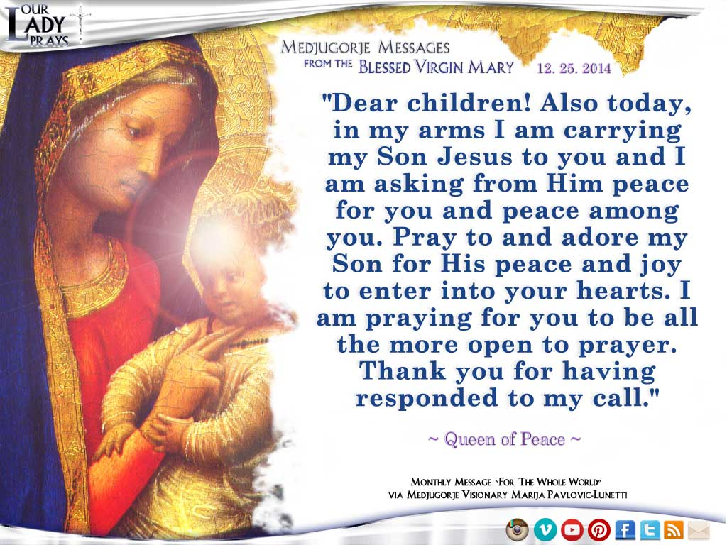 Medjugorje Message from the Blessed Virgin Mary, December 25, 2014