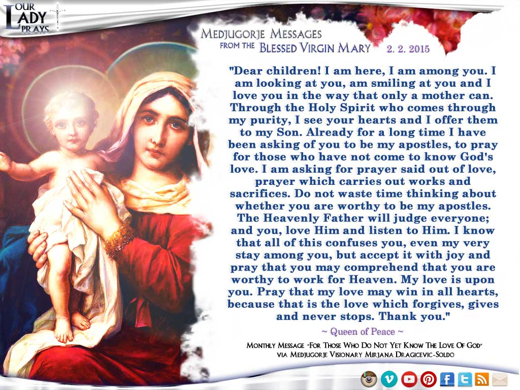 Medjugorje Message from the Blessed Virgin Mary, February 2, 2015